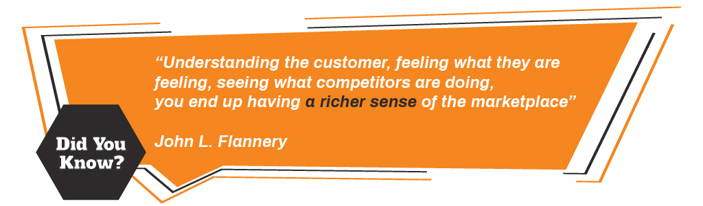 """""""Understanding the customer, feeling what they are feeling, seeing what competitors are doing, you end up having a richer sense of the marketplace""""  John L. Flannery"""