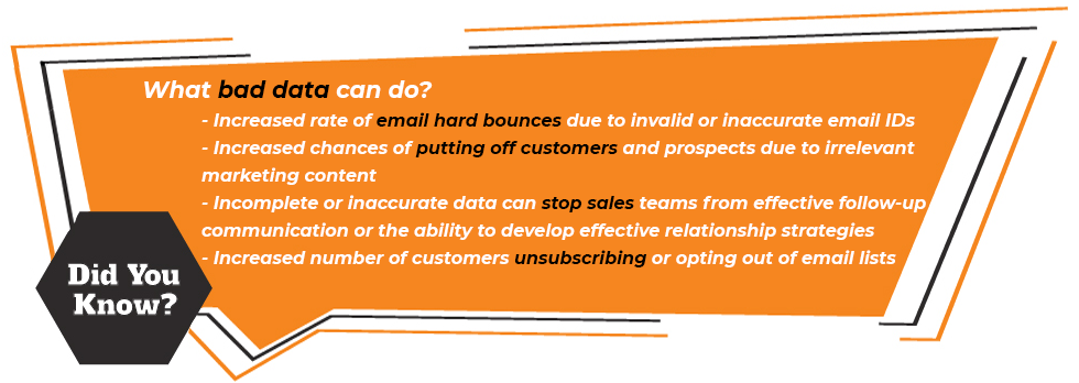 what bad data can do? Increased rate of email hard bounces due to invalid or inaccurate email IDs Increased chances of putting off customers and prospects due to irrelevant marketing content Incomplete or inaccurate data can stop sales teams from effective follow-up communication or the ability to develop effective relationship strategies Increased number of customers unsubscribing or opting out of email lists
