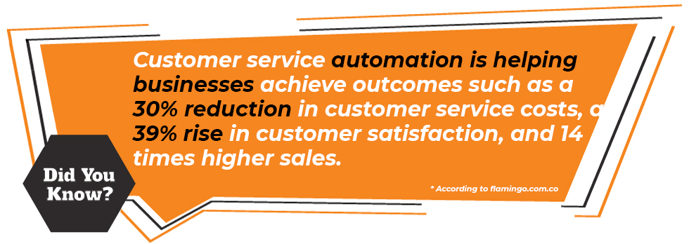 Customer service automation is helping businesses achieve outcomes such as a 30% reduction in customer service costs, a 39% rise in customer satisfaction, and 14 times higher sales.  * According to flamingo.com.co